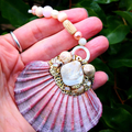 Love goddess 'Aphrodite' shell suncatcher window wall hanging - organic, rustic