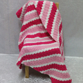 Hot Pink, Medium Pink and White Corner to Corner Blanket