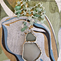 Soldered boho beachcombed relic, opaque seafoam pale green seaglass pendant