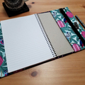 Australian Banksia and Birds A5 Fabric Journal Cover with Elastic Closure