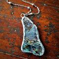 Boho mermaid soldered abalone paua pendant necklace, rustic, organic, natural