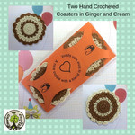 Two Hand Crocheted Coasters in Ginger and Cream in an Orange Presentation Card