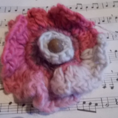 Crocheted brooch made from pure wool with vintage button, ON SALE!!!