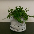 Pale grey African mud cloth pot plant bucket or storage