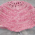 Crocheted summer hat, 100% cotton. rose pink with cream, sun safe, ON SALE!!!!