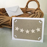 Note Card Italian Grey with Mini Star Garland