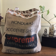 Recycled Coffee Burlap Bag.  Overnight Tote -  Hedgehogs