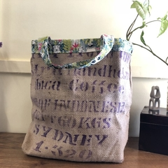 Recycled Coffee Burlap Bag.  Grocery/Shopping Tote -  Green Jungle