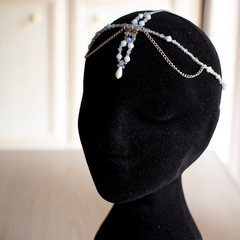 Boho Beaded Silver Hair Chain