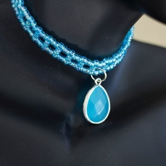 Blue Teardrop Pendant Beaded Choker Necklace
