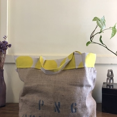 Recycled Coffee Burlap Bag.  Grocery/Shopping Tote -  Yellow Spots