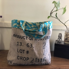 Recycled Coffee Burlap Bag.  Grocery/Shopping Tote -  Gold Leaves