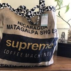 Recycled Coffee Burlap Bag.  Overnight Tote -  Pandas