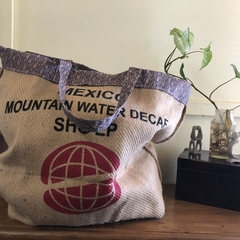 Recycled Coffee Burlap Bag.  Overnight Tote -  Recycled