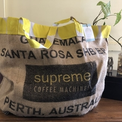 Recycled Coffee Burlap Bag.  Overnight Tote -  Yellow Spots
