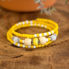 Yellow Gemstone/Wood Beaded Bracelet