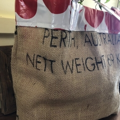 Recycled Coffee Burlap Bag.  Grocery/Shopping Tote -  Waterproof Apples Red