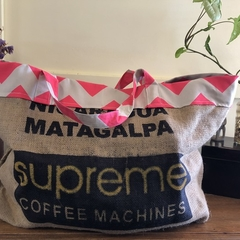 Recycled Coffee Burlap Bag. Lrg Grocery/Shopping Tote -  Pink