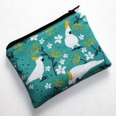 Small Coin Purse in Cockatoo Fabric