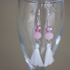 Pink Swarovski Crystal Tassel Earrings
