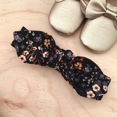 Top Knot - Headband - Floral Corduroy - Mustard - Black