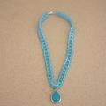 Blue Teardrop Pendant Beaded Choker Necklace