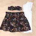 Skirt - Floral Corduroy - Mustard - Black - Retro - Girls - Sizes 1-5