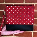 Red with dots  - Wristlet with leather accent