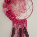 Pink pompom and feather Dreamcatcher