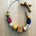 """The Red Essy """"CINNAMON"""" hand-painted wooden necklace"""