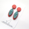 Coral and Turquoise Mini Oval drop polymer clay earrings