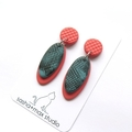 Coral and Turquoise Oval drop polymer clay earrings
