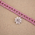 Metallic Pink Beaded Lotus Flower Choker Necklace
