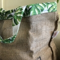 Recycled Coffee Burlap Bag.  Grocery/Shopping Tote -  Green Leaves