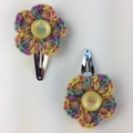 Two Pairs Flower Hair Clips | Mauve Green | Gift Idea | Crochet | Ready to Post