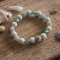 Aquamarine and Lava Stone Stretch Bracelet