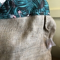 Recycled Coffee Burlap Bag.  Grocery/Shopping Tote -  Flamingo