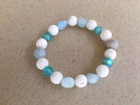 Aquamarine and Lava Stone Stretch Bracelet