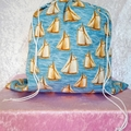 Large Drawstring Bag - Sailboats Design