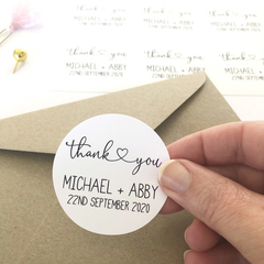 Wedding Thank You Stickers, Personalised Wedding Stickers, FUL001