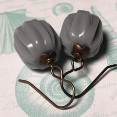 deco grey...Vintaj Brass and Vintage Lucite Earrings