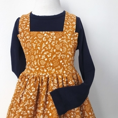 Pinafore Dress - Mustard Floral -Corduroy - Retro - Girls - Size 1-4