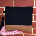 Black - Wristlet with leather accent