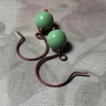 Pastel Pea Green - Glass Beads and Rosey Copper Earrings