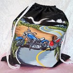 Large Drawstring Bag - Motorcycle City Design