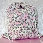 Large Drawstring Bag - Pink and Grey Tiger Print Design