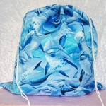 Large Drawstring Bag - Dolphins Design