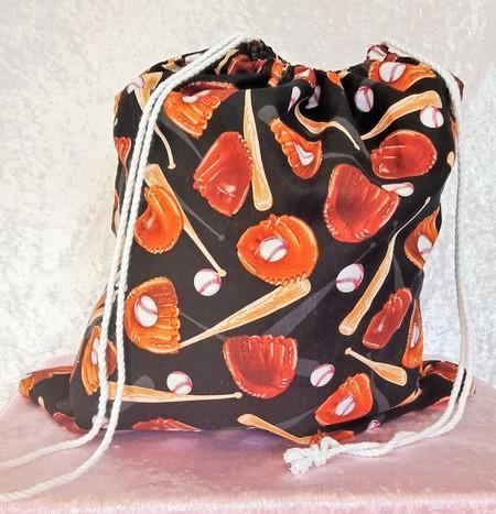 Large Drawstring Bag - Baseball Season Design