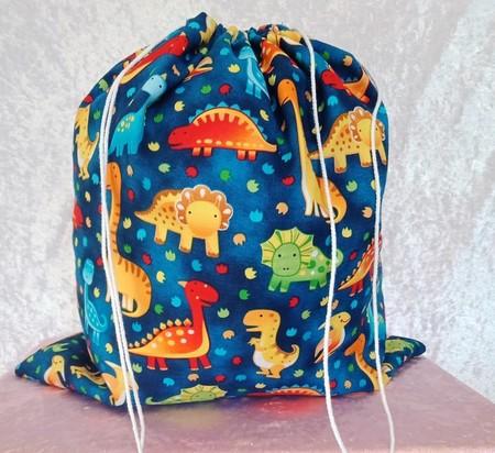Large Drawstring Bag -   Dinosaurs Galore Design
