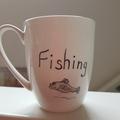 Hand painted bone china mug fisherman